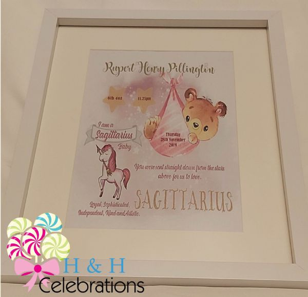 Sagittarius New Baby Star Sign Print